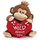"""Brown Plush Valentine Monkey with """"I'm Wild About You"""" Red Heart Shaped Pillow 13"""""""