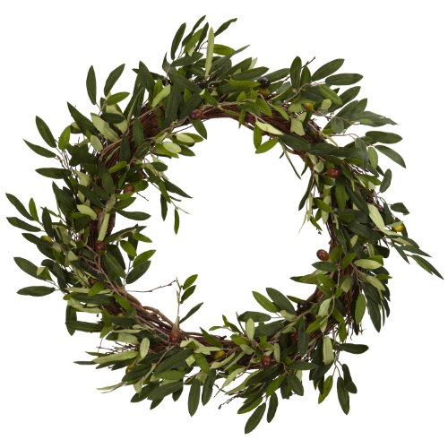 (Nearly Natural 4773 Olive Wreath, 20-Inch,)