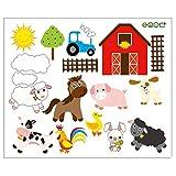 Fangeplus R DIY Removable Happy Life Farm Poultry Animals Farm Art Mural Vinyl Waterproof Wall Stickers Kids Room Decor Nursery Decal Sticker Wallpaper 23.6''x19.6''