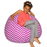 Big Comfy Bean Bag Chair: Posh Large Beanbag Chairs with Removable Cover for Kids, Teens and Adults - Polyester Cloth Puff Sack Lounger Furniture for All Ages - 27 Inch - Pink and White