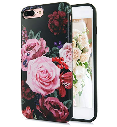 (Fun Flower Phone Case Compatible with iPhone 8 Plus iPhone 7 Plus Matt Pink Rose Red Peony Floral Pattern IMD Hybrid Hard TPU Cover Protective Cute Apple Phone Cases for)