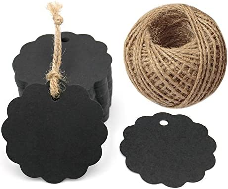 100PCS Black Craft Scalloped Paper Gift Tags with 100Feet Natural Jute Twines for Birthday Party Wedding Decoration Gifts Arts /& Crafts