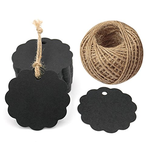 100PCS Black Craft Scalloped Paper Gift Tags with 100Feet Natural Jute Twines for Birthday Party, Wedding Decoration Gifts, Arts & Crafts]()