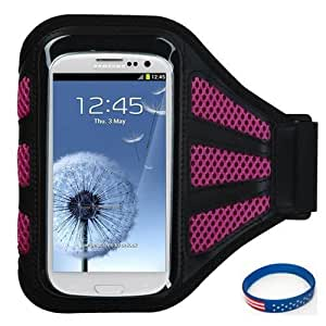 Premium Sport Armband Case for Sony Xperia SP - Black (with Hot Pink Mess Ports) + Star Strips Silicon Wristband