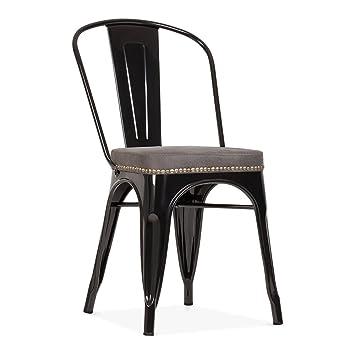 Xavier Pauchard Tolix Metal Cote Chaise Avec Coussin Couleur Option Noir