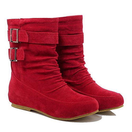 Solid Boots Suede Pull top Heels Imitated Women's Low on WeenFashion Red Low wRpgnq0Bv