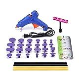 HOTPDR Dent Repair Dent Puller Kit Mini T-Bar Silde Hammer PDR Tabs Glue Gun and PDR Glue Sticks PDR Kit for Car Dent Repair