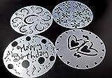 Lautechco 4Pcs/Set DIY Birthday Cake Spray Mold Decorating Heart Flower Screen Printing Film Coffee Tiramisu Decorating Bakery Tool