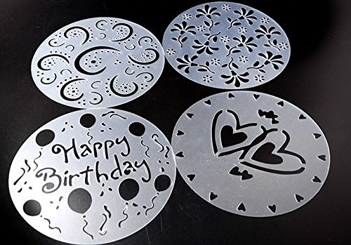 Lautechco 4Pcs/Set DIY Birthday Cake Spray Mold Decorating Heart Flower Screen Printing Film Coffee Tiramisu Decorating Bakery (Cake Stencil Set)