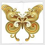 Cotton Microfiber Hand Towel,Modern,Macro Butterfly Figure Spiritual Wings Life Symbol Animal Illustration,Sepia Marigold Cinnamon,for Kids, Teens, and Adults,One Side Printing