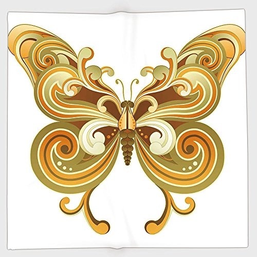 Cotton Microfiber Hand Towel,Modern,Macro Butterfly Figure Spiritual Wings Life Symbol Animal Illustration,Sepia Marigold Cinnamon,for Kids, Teens, and Adults,One Side Printing by iPrint