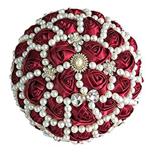 Peals Luxury Flores Burgundy Bridal Pearl Wedding Bouquets Beaded Satin Rose Ribbon Artificial Bride Bouquet Flower Custom,Diameter 21Cm 21