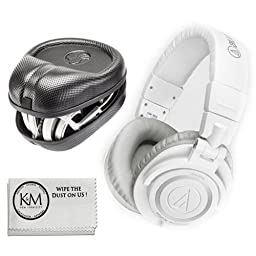 Audio-Technica ATH-M50XWH Professional Monitor Headphones - White + Slappa Full Sized HardBody PRO Headphone Case (SL-HP-07)