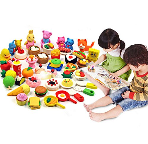 Chris-Wang 40Pcs Assorted Color Mini Kawaii Cartoon Animal Artificial Food Cute Rubber Eraser School Stationery Supplies Toy for Children Day Gift Kids Party Favors by Chris-Wang (Image #1)