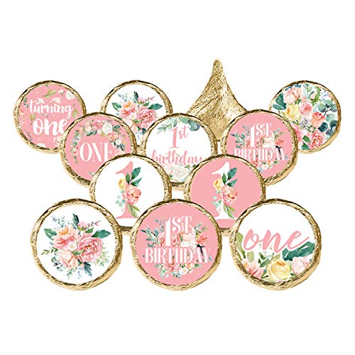 Pink Floral 1st Birthday Party Favor Stickers, 324 Count