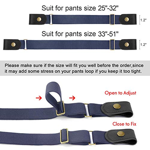 No Buckle No Show Belt for Men Buckle Free Stretch Belt Invisible Belt for Jeans Pants 1.38 Inch Wide by JasGood,Blue,Pant Size 30-48 Inch