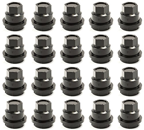 (BB Auto Set of 20 Black Wheel Center Cap Screw on Lug Nut Covers Caps New For Chevrolet S10 Blazer GMC Jimmy Sonoma )
