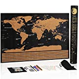 """Novelty Place Scratch Off Map of The World Wall Poster - Travel Map with US State and Country Flags, Premium Quality Large Size 23"""" X 16.5"""" Travel Tracker"""