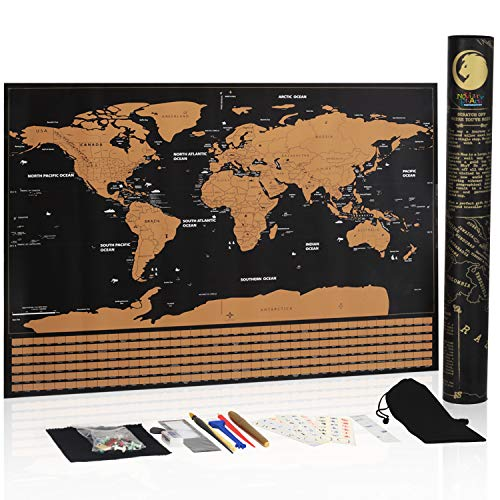 "Novelty Place Scratch Off Map of The World Wall Poster - Travel Map with US State and Country Flags, Premium Quality Large Size 23"" X 16.5"" Travel Tracker by Novelty Place"