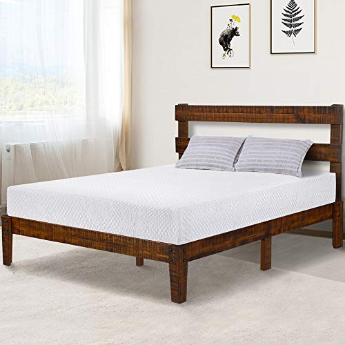 PrimaSleep PR38SF02Q 12 inch Platform Headboard/Wood Slat Support Bed Frame/Noise Free, Queen Brown ()