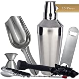 15-Piece TrueCraftware Professional Bar Set - Stainless Steel - Black Accents