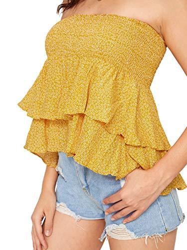 DIDK Women's Strapless Shirred Panel Layered Ruffle Hem Bandeau Peplum Top Blouse Yellow Medium ()