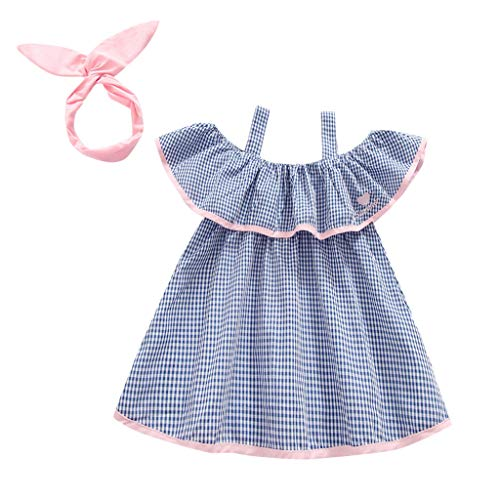 (Infant Baby Girl Floral Dress Ruffle Skirts Flutter Sve Summer Outfits Toddler Dress+Hat Clothes 12M-4Y Blue)