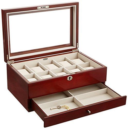 Mele & Co. Christo Glass Top Wooden Watch Box, Walnut