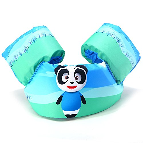 Peachskin Jacket - Kids Life Jacket Swimsuit Infant Floatation Swim Vest Cute Children Swimming Training Aids (Panda)
