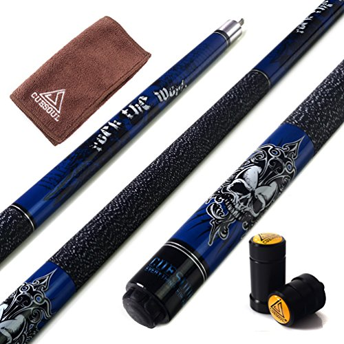 "CUESOUL Rockin Series 57"" 21oz Maple Pool Cue Stick Set with Joint Protector/Shaft Protector and Cue Towel G405"