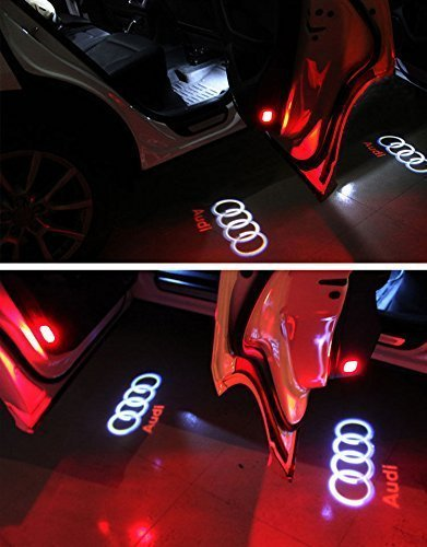 Flyox YBD-02 Car Door LED Lighting Entry Ghost Shadow Projector Welcome Lamp Logo Light for Audi Series (2 Pack)