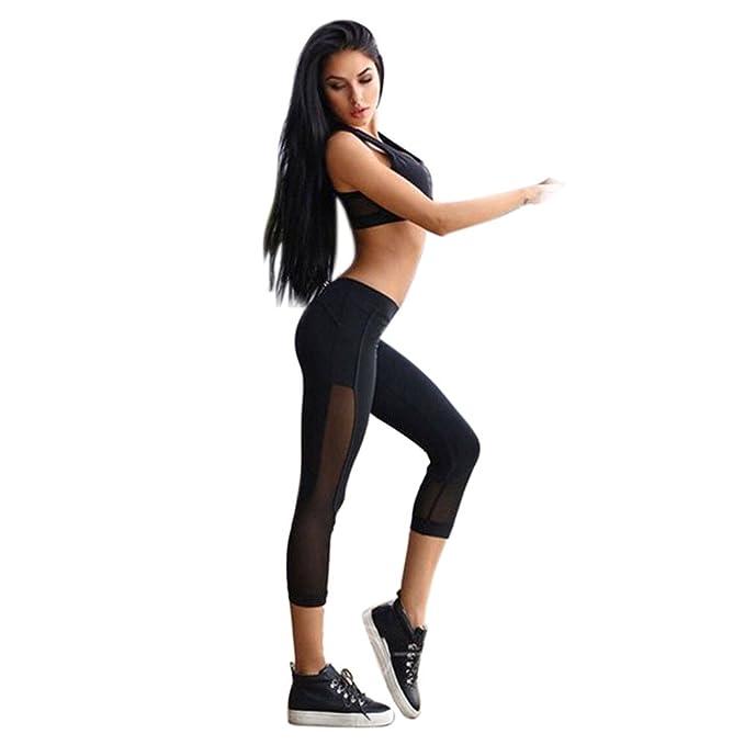Nuevo!! Leggings Deporte Mujer,Mujer Skinny Fitness Leggings Pantalones Deportiva NiñA Leggins Push Up Cintura Alta Patchwork Leggings De Malla De ...