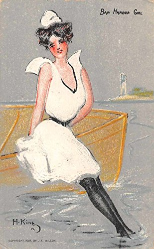 Bathing Beauty Bar Harbor Girl Artist Signed King Postcard J69136