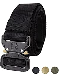Tactical Belt, Military Style Webbing Riggers Web Belt with Heavy-Duty Quick-Release Metal Buckle in Delicate Gift Box