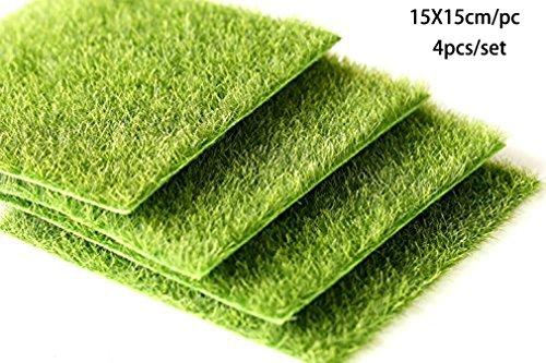 4 PCS/SET Artificial Life-like Grass Lawns Green Synthetic Turf Miniature Ornament Micro Landscape Ornament Decoration (15X15cm) (Grass Small)