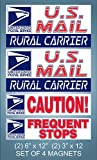 "Set of 4 U.S. Mail Delivery Magnetic Signs Rural Delivery Carrier Magnet 6""X12"" and 3""x12"" USPS"