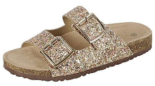 - Cambridge Select Women's Open Toe Two Strap Buckle Glitter Slip-On Flat Slide Sandal (7.5 B(M) US, Gold)