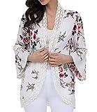 Floral Cardigan For Women Lace Patchwork Puff Sleeve Chiffon Kimono Blouse Summer, White, Medium