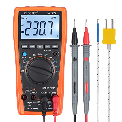 - Proster Digital Multimeter 3999 LCD Auto Ranging Multi Meter with Capacitance Resistance Dc AC Voltage Current Transistor Diode Continuity