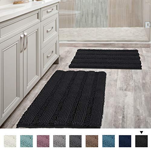 Extra Thick Striped Bath Rugs for Bathroom - (Set of 2) Anti-Slip Bath Mats Soft Plush Chenille Yarn...