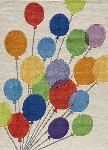 Momeni Acrylic Rug - Momeni Rugs LMOJULMJ16MBA4060 Lil' Mo Whimsy Collection, Kids Themed Hand Carved & Tufted Area Rug, 4' x 6', Multicolor Balloons