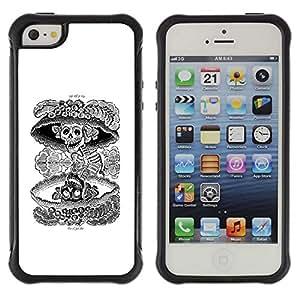Be-Star único patrón Impacto Shock - Absorción y Anti-Arañazos Funda Carcasa Case Bumper Para Apple iPhone 5C ( Nuclear Skull Death Black White Rock )