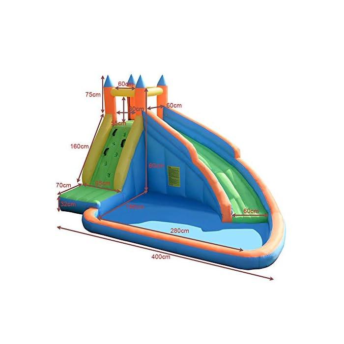51nCLBa7mXL ✦ SEGURIDAD: la parte superior tiene un gran muro de malla que rodea el área de salto, manteniendo a su hijo seguro mientras salta y permitiendo la máxima ventilación. Además, puede conocer todas las acciones a través de la red de malla. M MATERIALES DE ALTA CALIDAD: los muros de escalada, los toboganes curvos y las grandes piscinas para niños están hechos de un material 420D Oxford muy resistente a los pinchazos, mientras que el área de rebote se hace desde el exclusivo 840D Oxford para mejorar su durabilidad. INF INFLACIÓN RÁPIDA: establezca esta hamaca sin importar en el patio, el parque, el césped con un soplador de flujo continuo y de servicio pesado. Con nuestro potente soplador, sus hijos recibirán un maravilloso castillo inflable en 1 a 3 minutos.