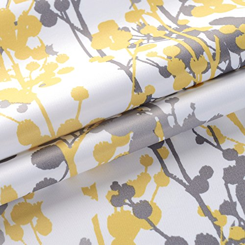 "DriftAway Leah Abstract Floral Blossom Ink Painting Room Darkening/Thermal Insulated Grommet Unlined Window Curtains, Set of Two Panels, each size 52""x84\"" (Yellow/Silver/Gray)"