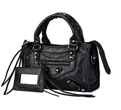 dc28848bbd1a Women s Vintage Leather Tote Shoulder Bag Rivet Studded Motorcycle Bag  Top-handle Crossbody Handbags Ladies