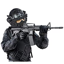 Tactical Fast PJ Type Helmet With Full Mask And Goggles For Airsoft Paintball CS Game