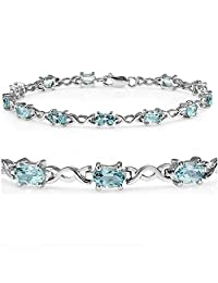 7 ct Sky Blue Topaz Infinity Tennis Bracelet set in Sterling Silver ( 7 1/4 inches)