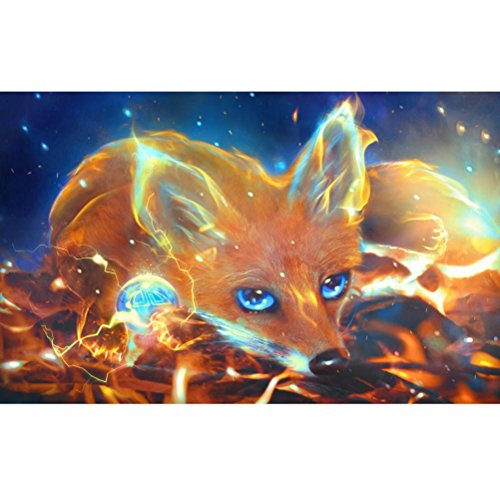 FORESTIME 5D Diamond Painting Cute Fox,Wolf Pattern 5D Diamond Painting Full Drill by Number Kits Crystal DIY Rhinestone Diamond Embroidery Paintings Pictures Arts Craft for Home Wall Decor (B)