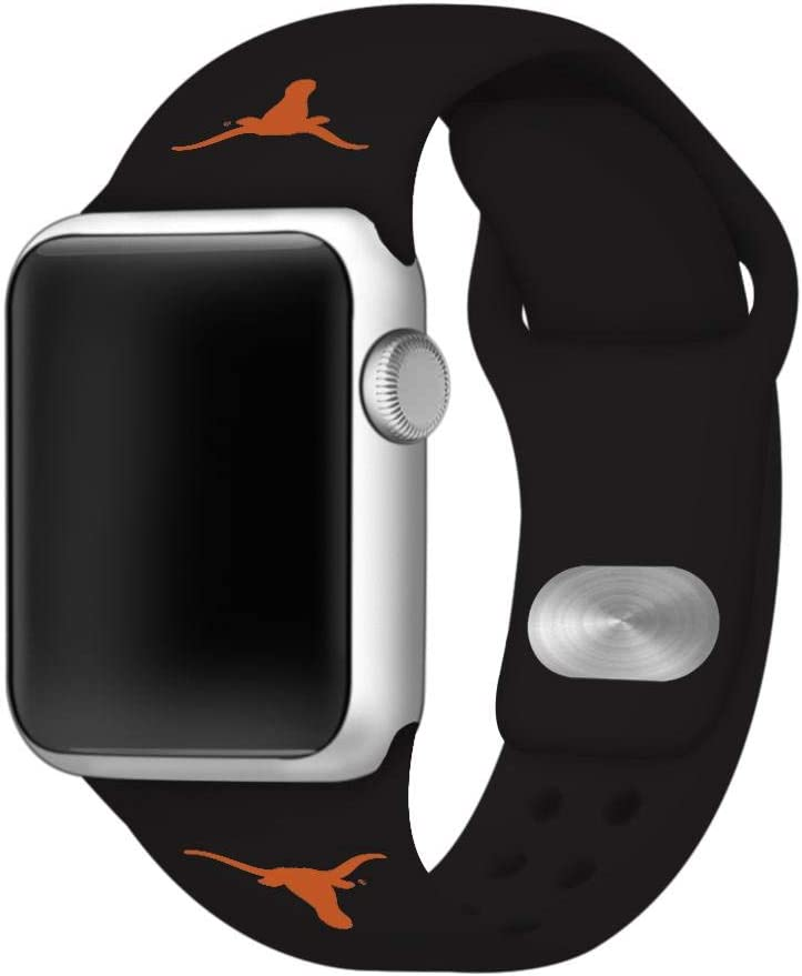 AFFINITY BANDS Texas Longhorns Silicone Sport Watch Band Compatible with Apple Watch (42mm/44mm - Black)