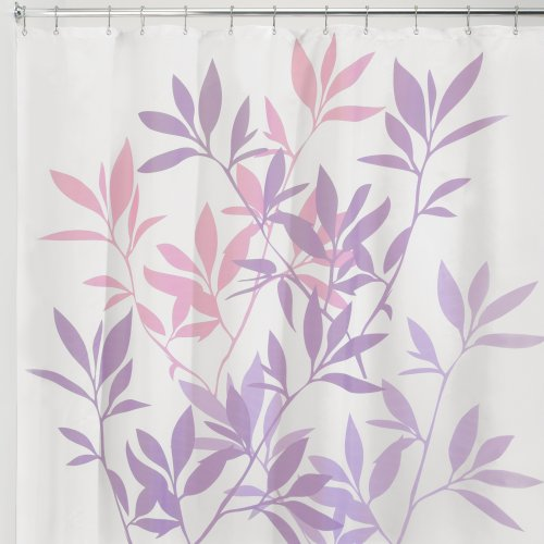 InterDesign Leaves Shower Curtain, Pink and Purple, 72-Inch by 72-Inch